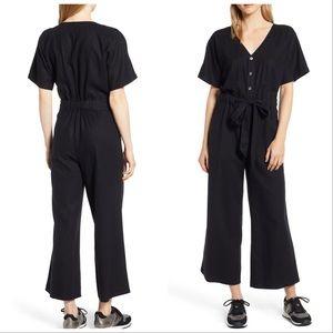 Caslon jumpsuit black small wide leg cinched waist